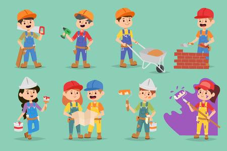 Vector kids builders