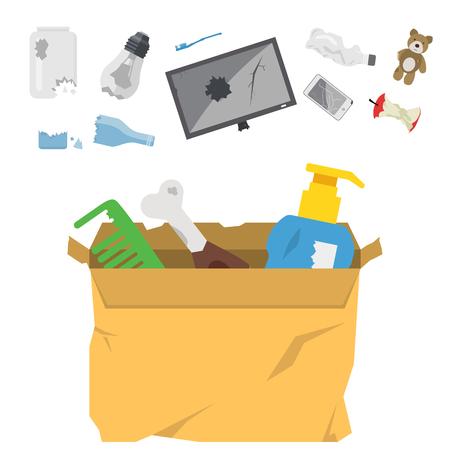Recycling garbage, waste sorting illustration.