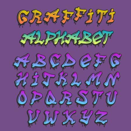 Graffiti alphabet in hand drawn grunge font, paint symbol design, ink style texture typeset. Vettoriali