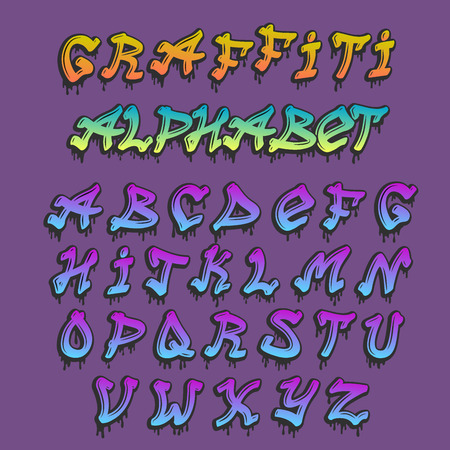 Graffiti alphabet in hand drawn grunge font, paint symbol design, ink style texture typeset. Ilustracja