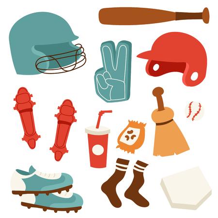 Baseball sport competition game team symbol softball play cartoon icons design.