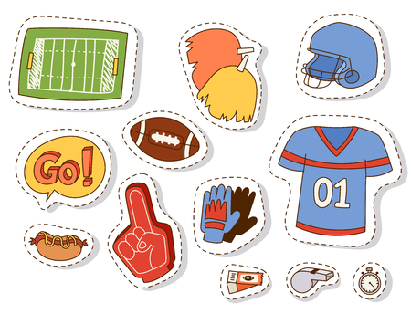 American football sport athlete uniform and sporty accessory icons on white backdrop illustration. Illustration