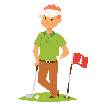 Golf player vector man and accessories golfing club male swing sport hobby equipment illustration