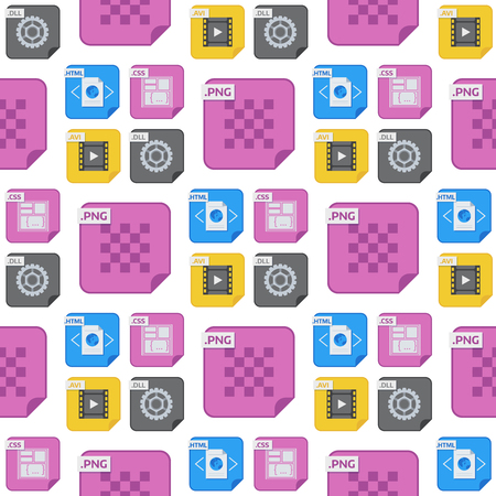 File types and formats seamless pattern background. Illusztráció