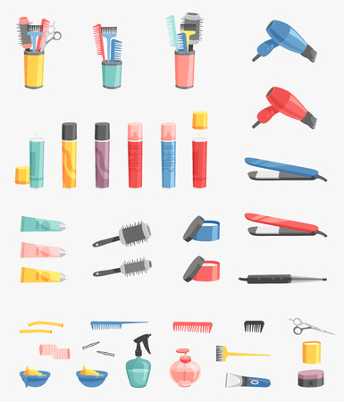 Hairdressing vector barbershop icons salon barbershop tool and device symbols fashion hairdresser professional barber cutting illustration. Stylist haircut barber accessories professional equipment Illustration