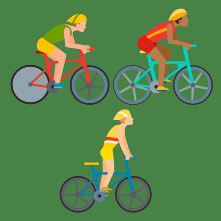 Racing vector bike people cyclist in action fast road biker man flat side front view illustration of cycling Ilustrace