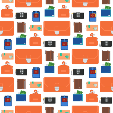 Purse wallet with money seamless pattern background shopping buy business financial payment bag and accessory trendy cash wealth vector illustration. 写真素材 - 98140167