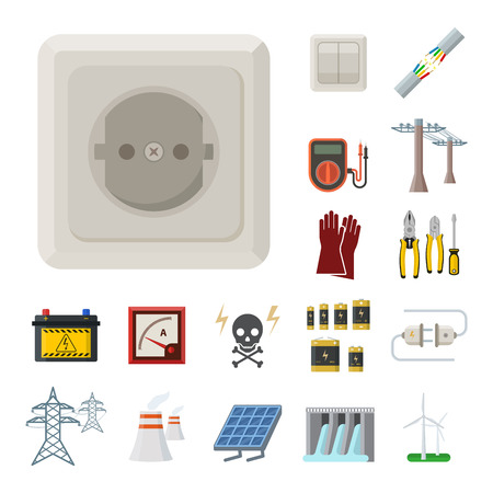 Energy electricity vector power icons battery illustration industrial electrician voltage electricity factory safety socket technology Stok Fotoğraf - 98176448