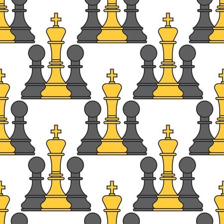 체스 보드 원활한 패턴 배경 체스 맨 토너먼트 벡터 레저 개념 기사 그룹 흰색과 검은 색 조각 경쟁