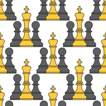 Chess board seamless pattern background chessmen tournament vector leisure concept knight group white and black piece competition Illusztráció