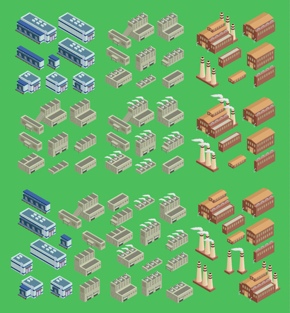 Isometric factory vector icon set which includes 3d buildings, stores warehouse and other industrial structures. 3d buildings architecture design. Modern isometric real structure 3d buildings.
