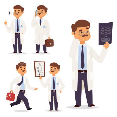 Doctor nurse character vector medical man staff flat design hospital team people doctorate illustration.