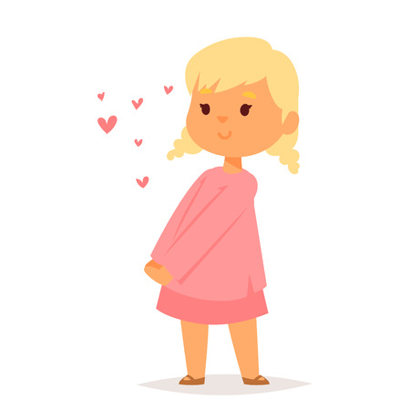 Girl in love vector character happy smiling kid romantic woman amorousness together adult relationship.