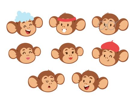 Monkeys rare animal vector cartoon macaque. Ilustração