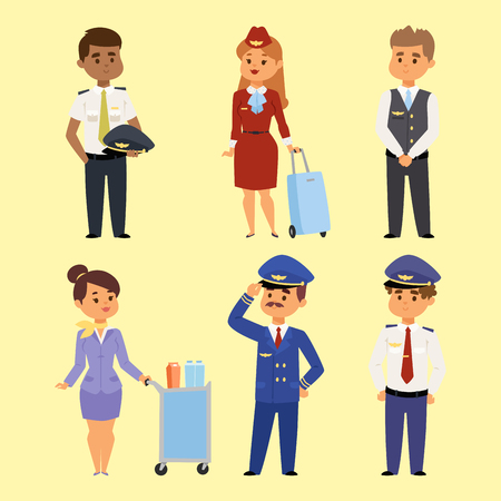 pilotes et hôtesse illustration vecteur caractère d & # 39 ; avion de compagnie de l & # 39 ; air de l & # 39 ; air de l & #