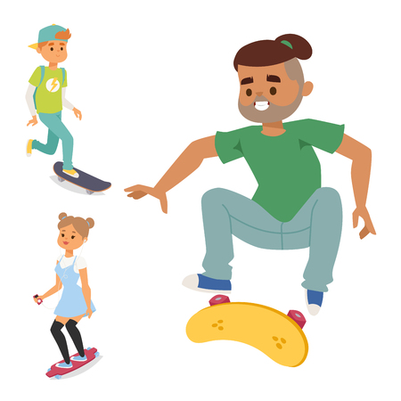 Skateboard characters vector stylish skating kids illustration skate cartoon male activity extreme skateboarding icon.