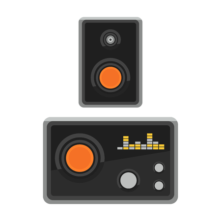 Acoustique acoustique système plat haut-parleurs vecteur lecteur de musique de l & # 39 ; équipement subwoofer de musique Banque d'images - 98176636
