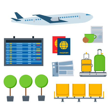 Aviation icons vector airline graphic airplane airport transportation fly travel symbol illustration.