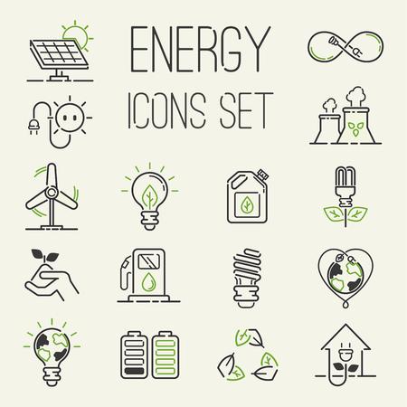 Los iconos verdes de la energía del eco del vector fijaron la energía de los iconos de la energía fijaron la naturaleza del ambiente del aceite de batería. Iconos de energía renovable de átomo de casa nuclear. Bombilla electricidad agua naturaleza eco industria renovable