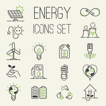 Vector green eco energy icons set energy icons power set battery oil environment nature. Nuclear house atom renewable energy icons. Light bulb electricity water nature eco renewable industry Illustration