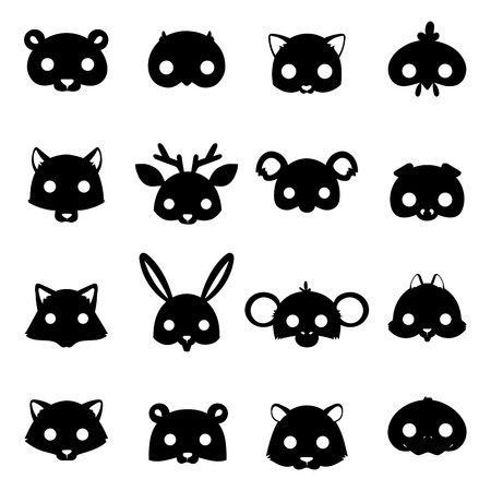 Animals carnival mask silhouette vector festival decoration masquerade and party costume cute cartoon head decor celebration illustration.