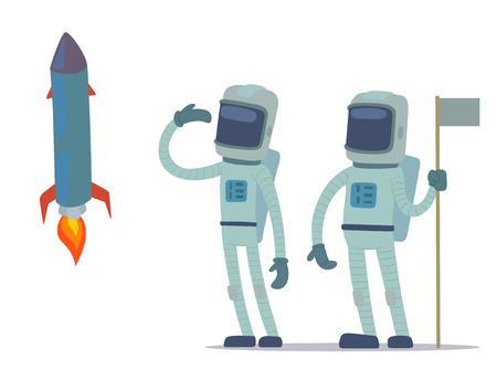 Astronaut in space vector character having fun.