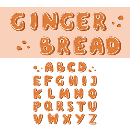 Gingerbread cookies alphabet holidays ginger cookie font text food biscuit xmas letter vector illustration Ilustração