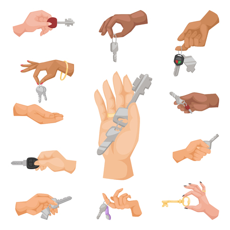 Hand holding key vector apartment selling human gesture sign security house concept arm symbol illustration