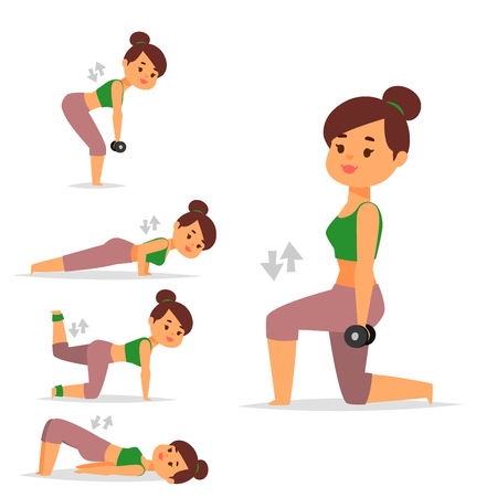 Woman home workout vector exercising at home fitness character training coaching healthy living and diet concept illustration. Stock Vector - 98176642