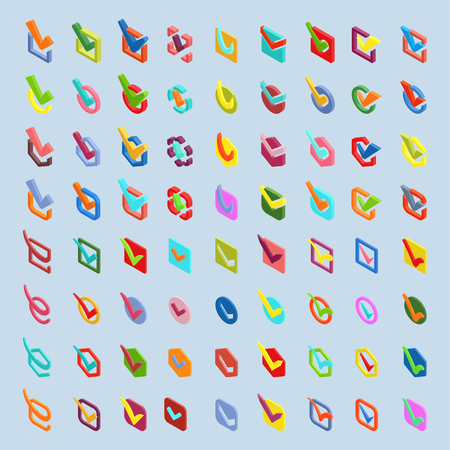 Check box isometric approve vector buttons icons set. Check vote icons vote mark sign choice yes symbol. Correct design check vote icons check mark right agreement voting form Ilustração