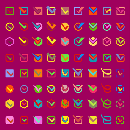 Check box approve vector buttons icons set. Check vote icons vote mark sign choice yes symbol. Correct design check vote icons check mark right agreement voting form