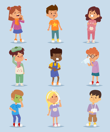 Children sickness illness disease little kids characters set. Stockfoto - 102081809