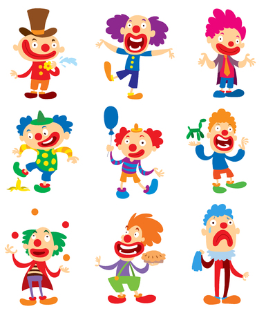 Clown character vector performing different fun activities cartoon illustrations.