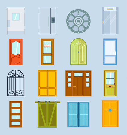 Doors vector design furniture elements doorway front entrance house building in flat style doorstep illustration isolated on background house elements Иллюстрация