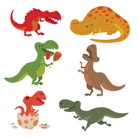 Dinosaurs vector illustration set