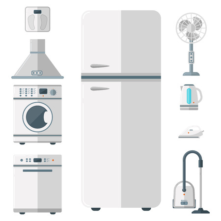 Home appliances vector domestic household equipment kitchen electrical domestic technology for homework tools illustration Vettoriali