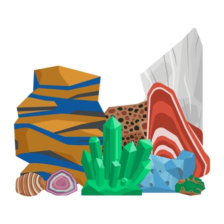 Conjunto de ilustración de vector de piedras preciosas gema vector Foto de archivo - 98290746