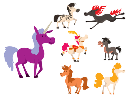 Horse pony stallion vector breeds color farm equestrian mammal domestic animal mane zoo character illustration.