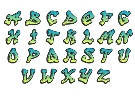 Graffity alphabet vector hand drawn grunge font paint symbol design ink style texture typeset  イラスト・ベクター素材