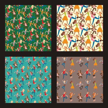 People jumping in celebration party, vector happy man jump celebration joy character. Cheerful woman active happiness expression, many joyful friends seamless pattern background.