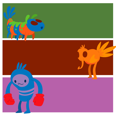 Monster character vector cards funny design element humour emoticon fantasy monsters unique expression crazy animals sticker illustration. Stock Photo