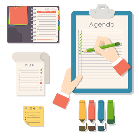 Agenda list vector business paper clipboard in flat style self-adhesive checklist notes schedule calendar planner organizer article illustration. Stock Illustration - 98887733