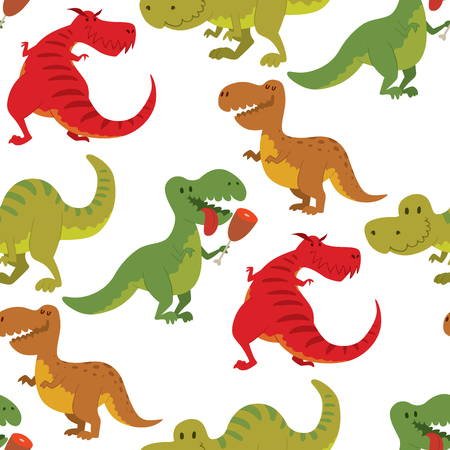 Dinosaurs vector dino animal tyrannosaurus t-rex danger creature force wild jurassic predator prehistoric extinct illustration. Angry powerful large dinosaurs vector model seamless pattern background. Stock fotó - 98854688