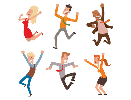 People jumping in celebration party vector illustration happy man jump celebration joy character. Cheerful woman active happiness expression many joyful friends portrait.