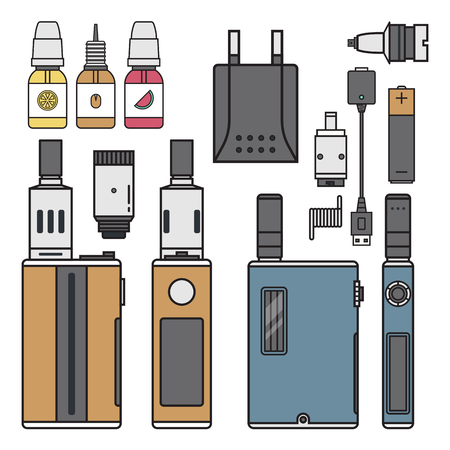 Vape device cigarette vaporizer vapor juice vape bottle flavor illustration battery coil electronic nicotine liquid smoking atomizer device e-liquid.