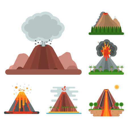 Volcano magma vector nature blowing up with smoke crater volcanic mountain hot natural eruption earthquake illustration. Stock Photo