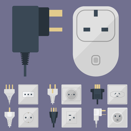 Electric plugs stack outlet illustration energy socket electrical outlets plugs european and usa, asia appliance interior icon. Wire cable cord plug-connection electrical outlets plugs double american