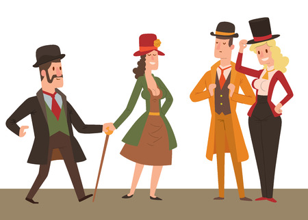 Vintage victorian cartoon gents retro people vector. Style fashion old people victorian gentleman clothing antique century character victorian gent people vintage wild west man and woman style Illustration
