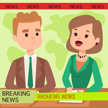 Illustration of anchor man breaking news and tv screen layout