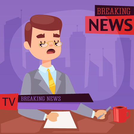 Illustration of anchor man breaking news and tv screen layout pofessional interview people in TV studio